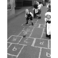 We played hopscotch.