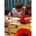 We decorated each biscuit with a poppy.