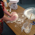 We kneaded all the ingredients together.