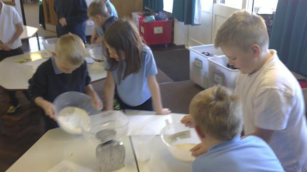Making the dough.