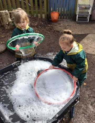Making giant bubbles.