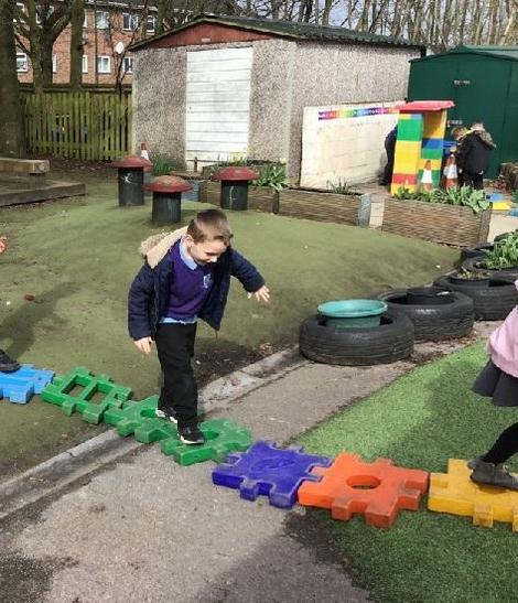 Balancing along osbstacle course