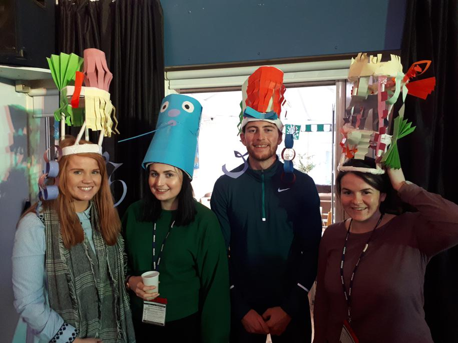 Hope students modelling their hats!