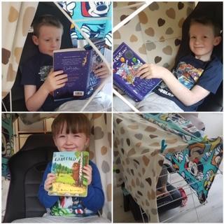 having fun in the reading den