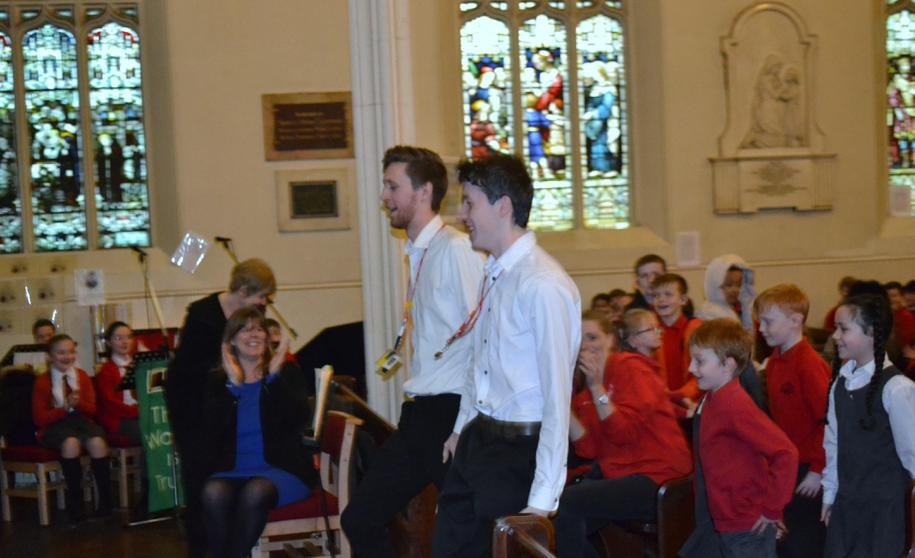 """Mr Hall & Mr Starkey leading """"Lord of the Dance!"""""""