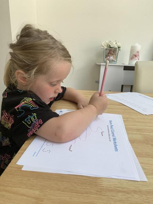 Lottie has been practising writing skills.