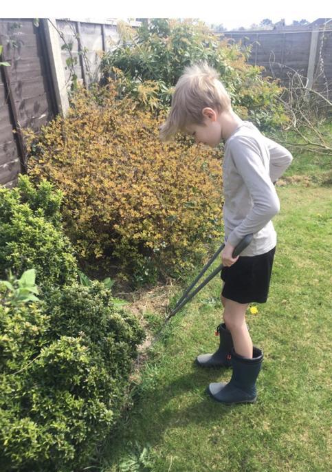 Keeping the garden trim.