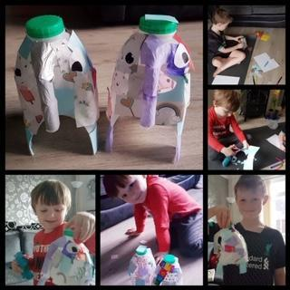 making elephants from milk cartons
