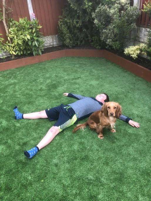 Joe doing exercise with Daisy!