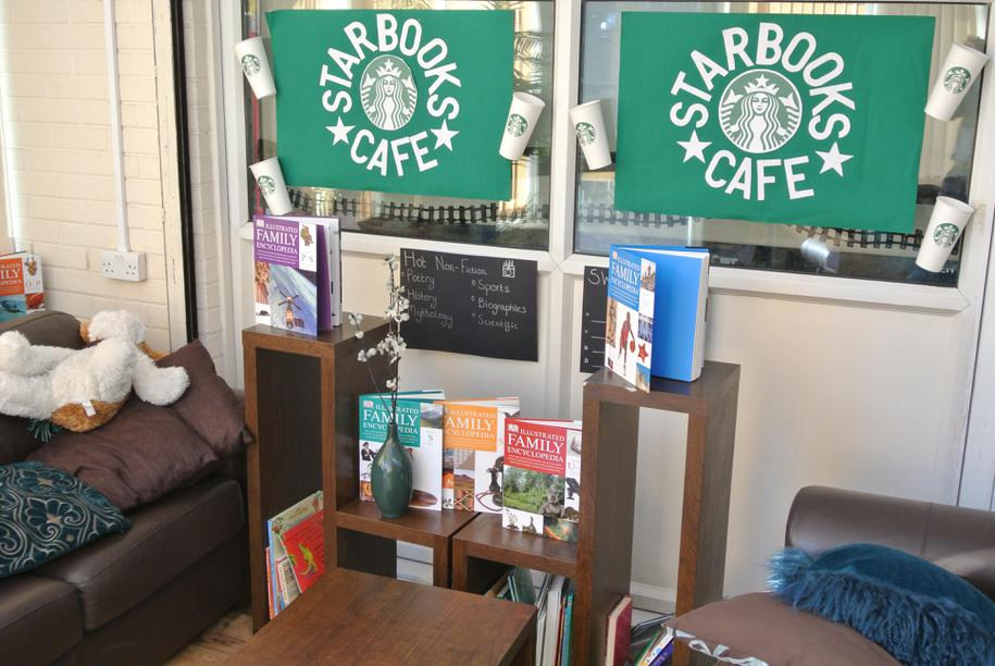 'Starbooks' - hot chocolate and book area