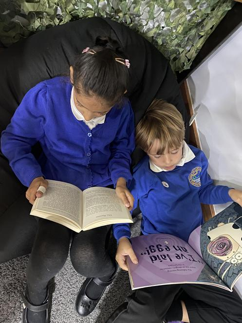 Reading in our book corner
