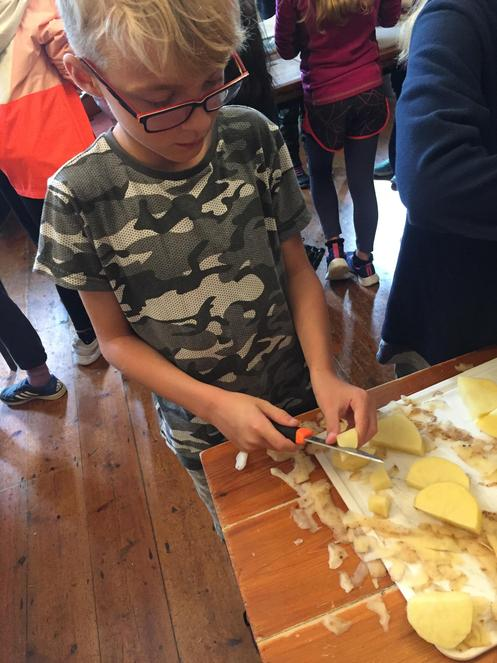 chopping potatoes