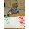 Italian flag finger painting