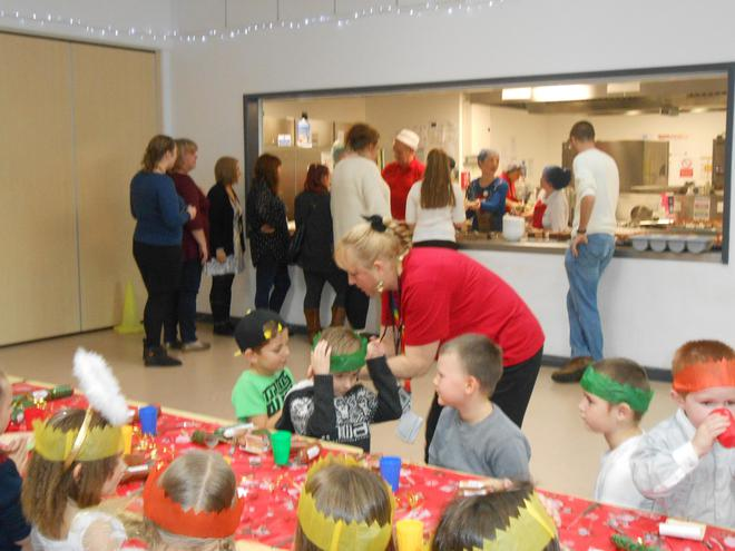 All the staff helped to serve the meals.