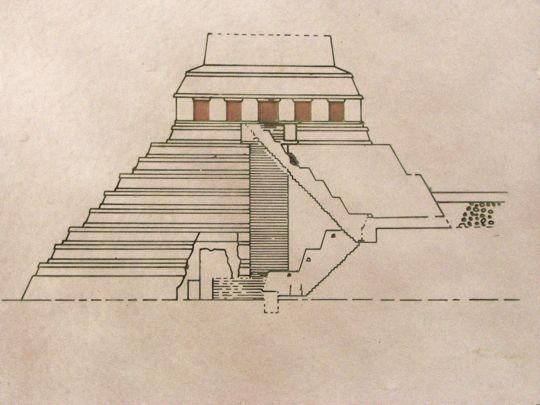 A cutaway diagram of the staircase and tomb