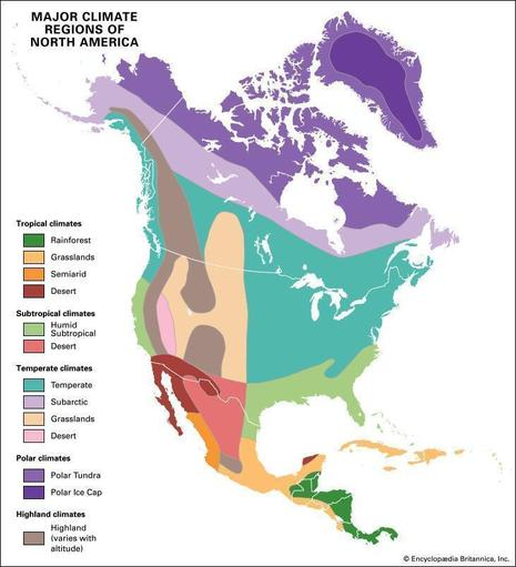The climate zones of North America.