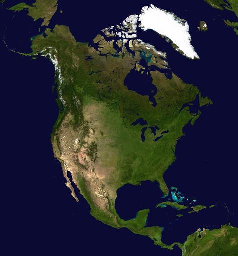 A composite satellite photo of North America.