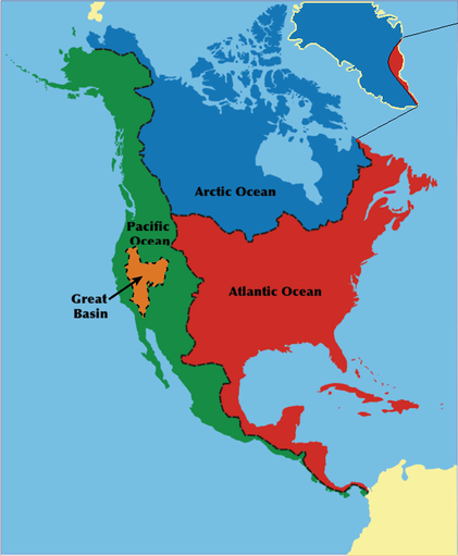 The watersheds of North America.