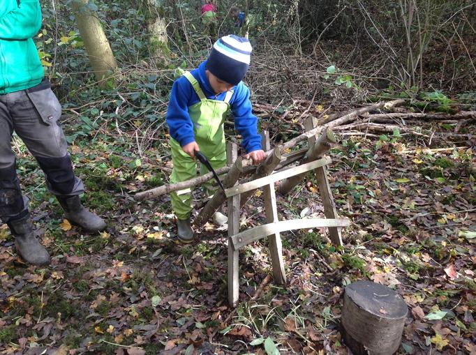 sawing to keep the woodshed stocked