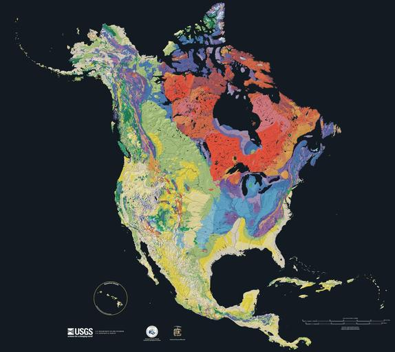 The types of bedrock beneath North America.