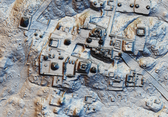 A detailed scan of a large area of Tikal