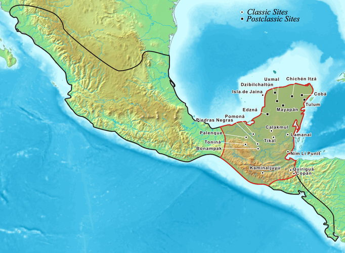 Map showing position of Tikal and Calakmul