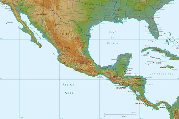 The topography (elevation) of Central America