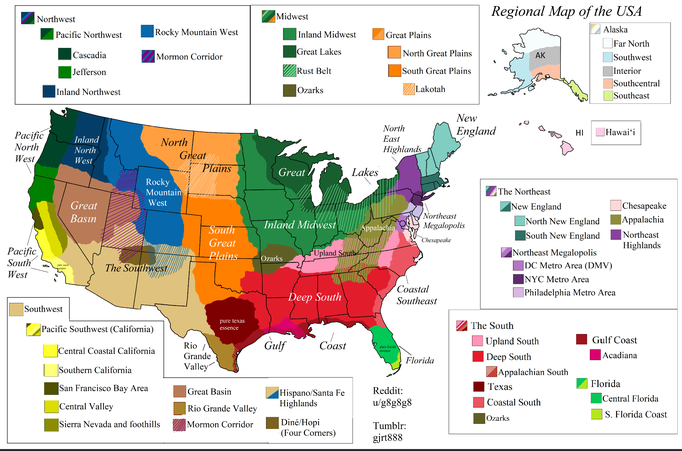 The regions of the USA.