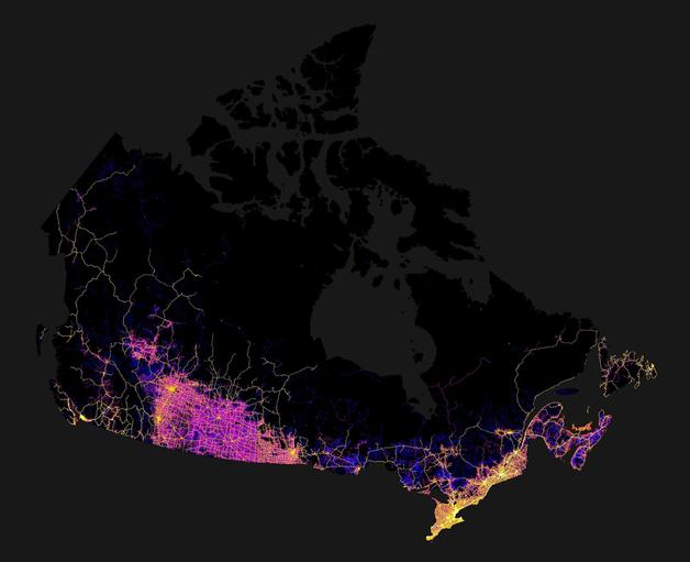 Road networks in Canada.