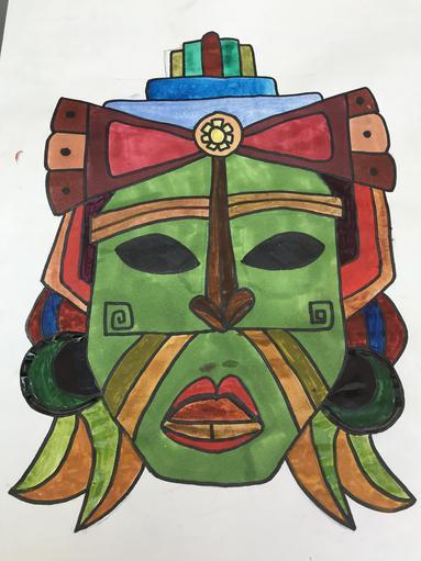 Nancy has made a Mayan Mask!