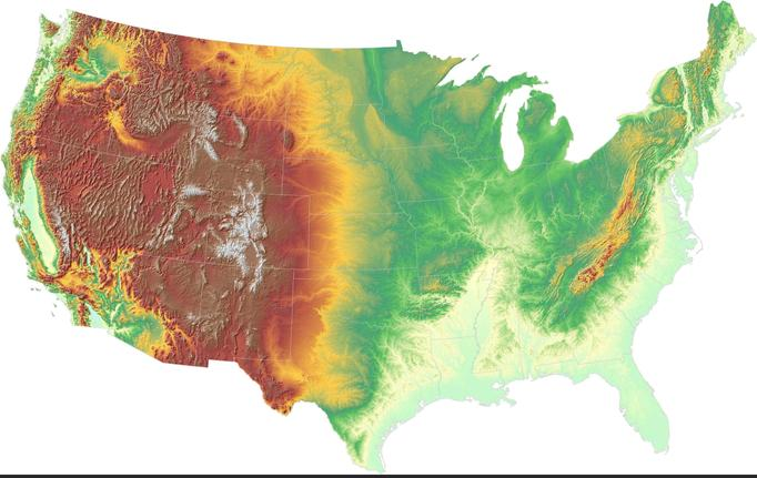 A topographical (elevation) map of the USA.