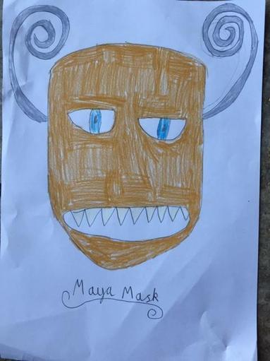 Mabel has drawn a Mayan Mask