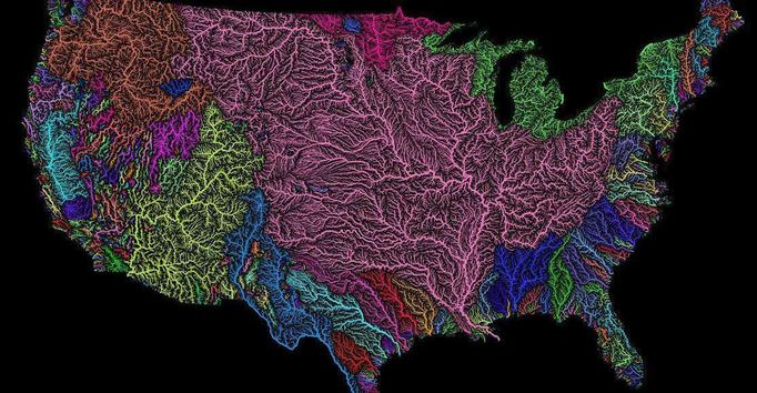 River basins in the USA.