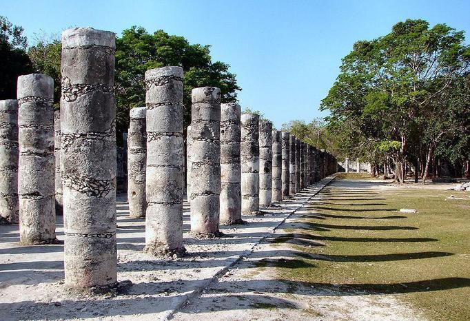 Columns show the Toltec influence on Chichen Itza