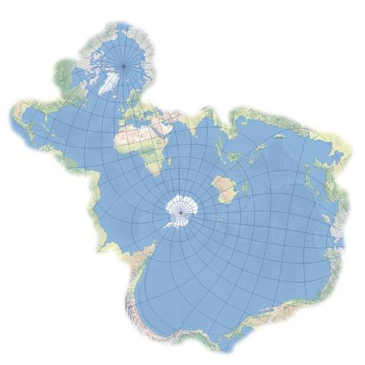 The world map flipped to show just the oceans.