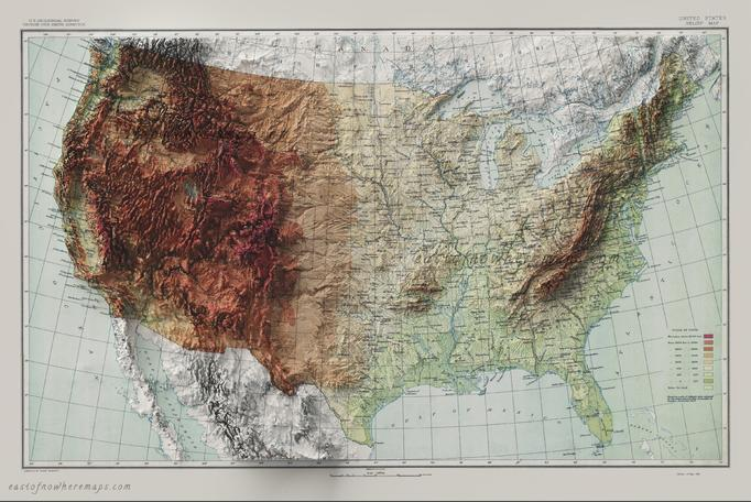 Another topographical (elevation) map of the USA.