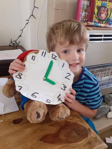 Someone has been learning to tell the time!
