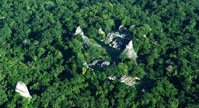 The central plaza of Tikal as seen from above