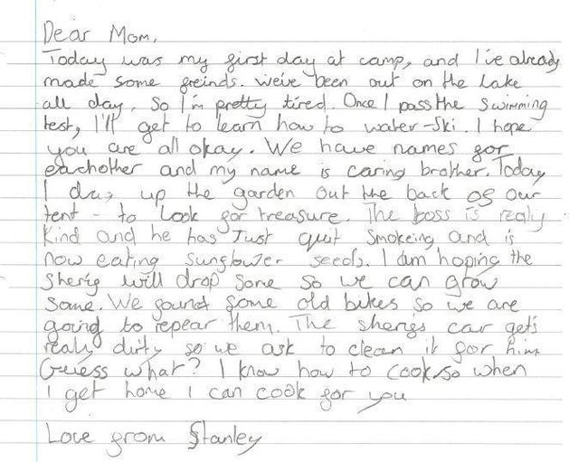 A letter to Stanley's Mom from Sam