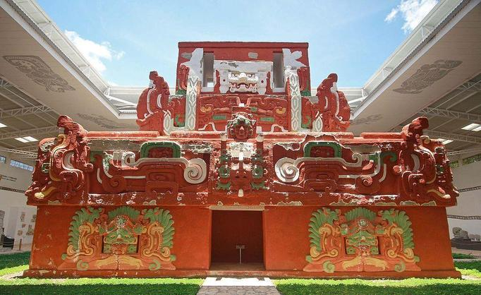 Reconstructed temple with original paint