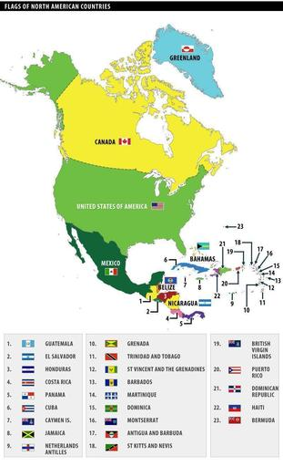 The countries of North America.