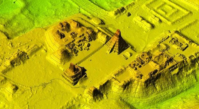 The central plaza modelled from LiDAR data