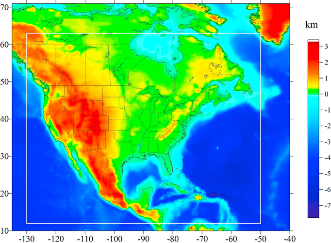A topographic (elevation) map of North America.