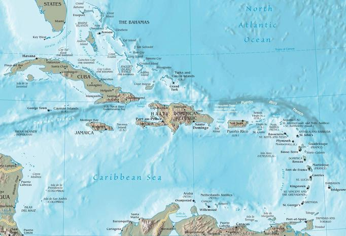 The Caribbean topography with countries.