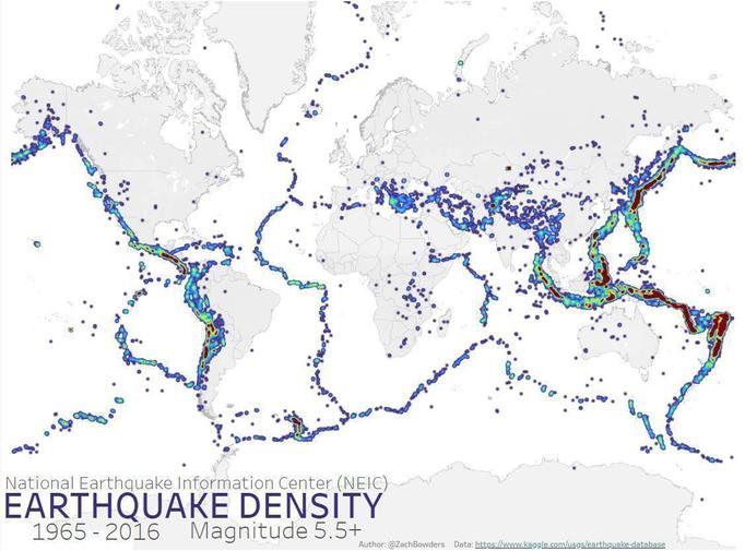 Earthquake density along tectonic plate boundaries