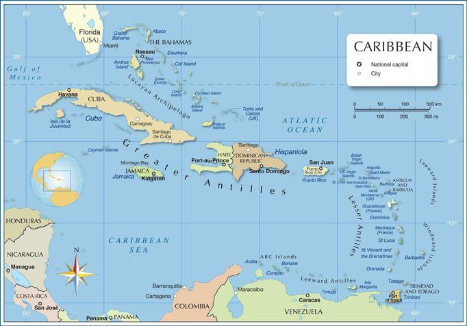 A political map of the Caribbean.
