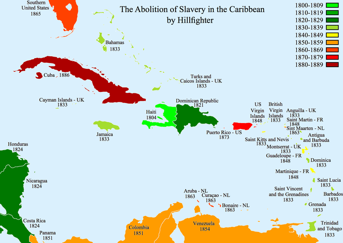 When slavery was abolished across the Caribbean.