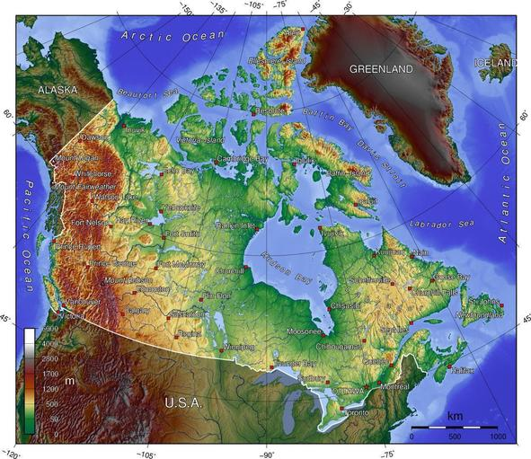 A topographical (elevation) map of Canada.