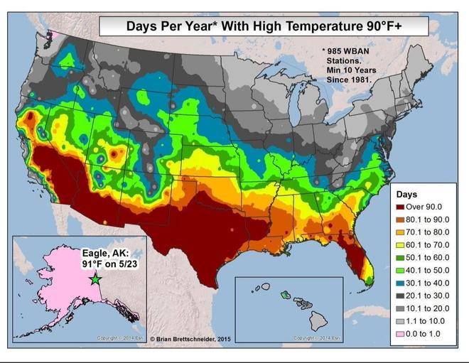 A map showing days above 32'C temperatures.