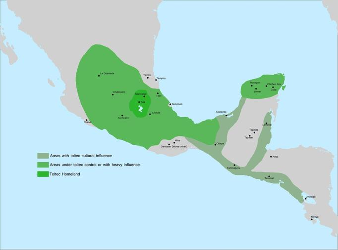A map showing the extent of Toltec influence